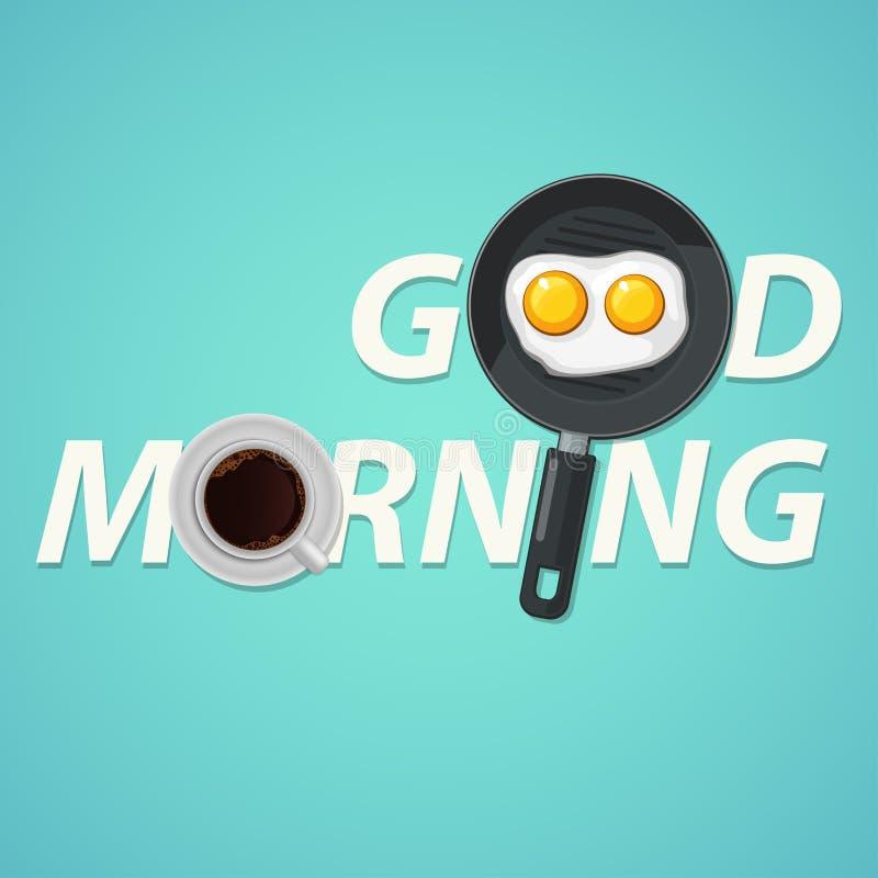 Begrepp för bra morgon för vektor Frukost stekt höna- eller hönaägg Rolig bild för bra morgon stock illustrationer