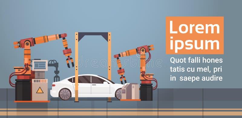 Begrepp för bransch för industriell automation för maskineri för monteringsband för bilproduktiontransportör automatiskt stock illustrationer