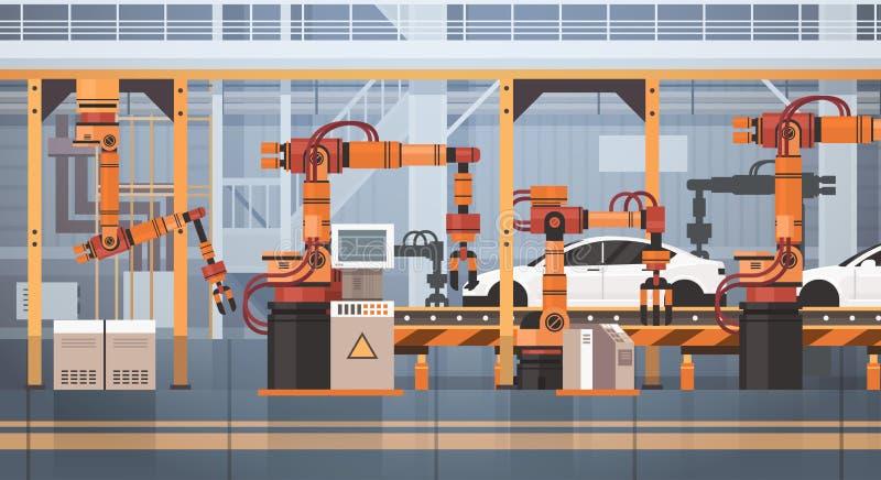 Begrepp för bransch för industriell automation för maskineri för monteringsband för bilproduktiontransportör automatiskt royaltyfri illustrationer