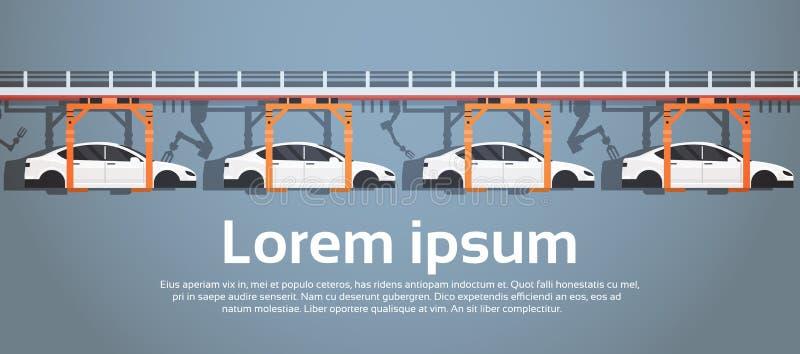Begrepp för bransch för industriell automation för maskineri för monteringsband för bilproduktiontransportör automatiskt vektor illustrationer