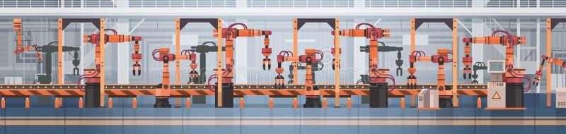 Begrepp för bransch för industriell automation för maskineri för monteringsband för fabriksproduktiontransportör automatiskt stock illustrationer