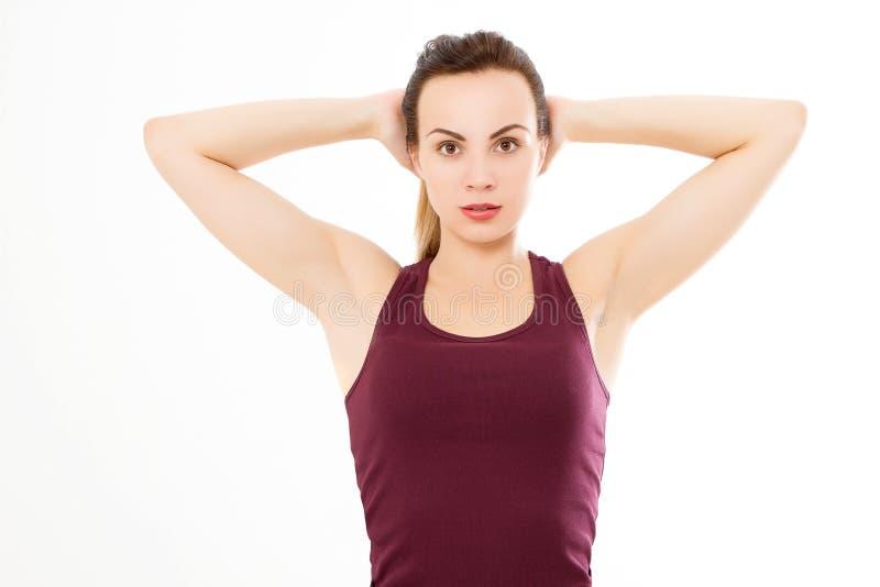 Begrepp för brunnsort och för armhåla för hudomsorg Ung caucasian kvinnamakroframsida som isoleras på vit bakgrund kopiera avstån arkivbild