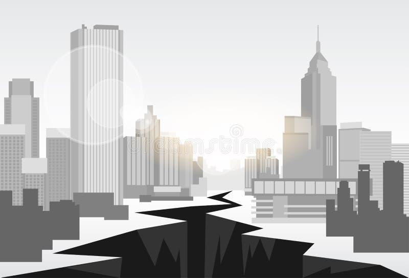 Begrepp för centrum för hålgatafinanskris stock illustrationer