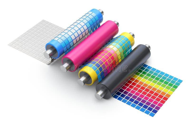 Begrepp för CMYK-printingförklaring med uppsättningen av skrivarrullar royaltyfri illustrationer