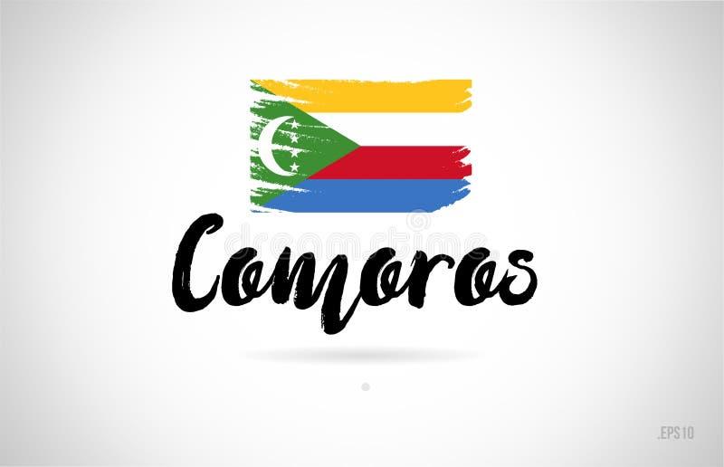 begrepp för comoros landsflagga med logo för grungedesignsymbol stock illustrationer