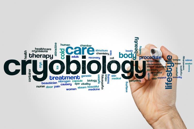 Begrepp för Cryobiologyordmoln på grå bakgrund royaltyfri illustrationer