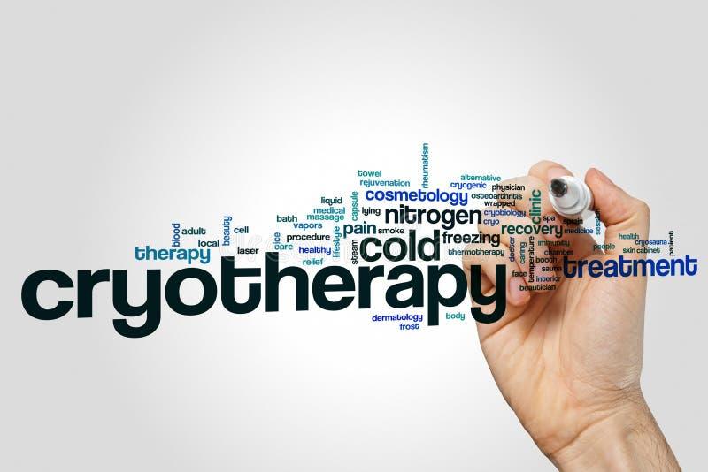 Begrepp för Cryotherapy ordmoln på grå bakgrund stock illustrationer