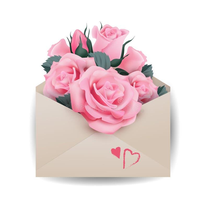 Begrepp för dag för förälskelse- eller valentin` s Rosa härliga rosor i kuvert mallvektorn stock illustrationer