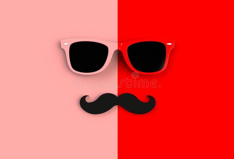 Begrepp för dag för fader` s Hipstersolglasögon och rolig mustasch på röd bakgrund royaltyfri illustrationer