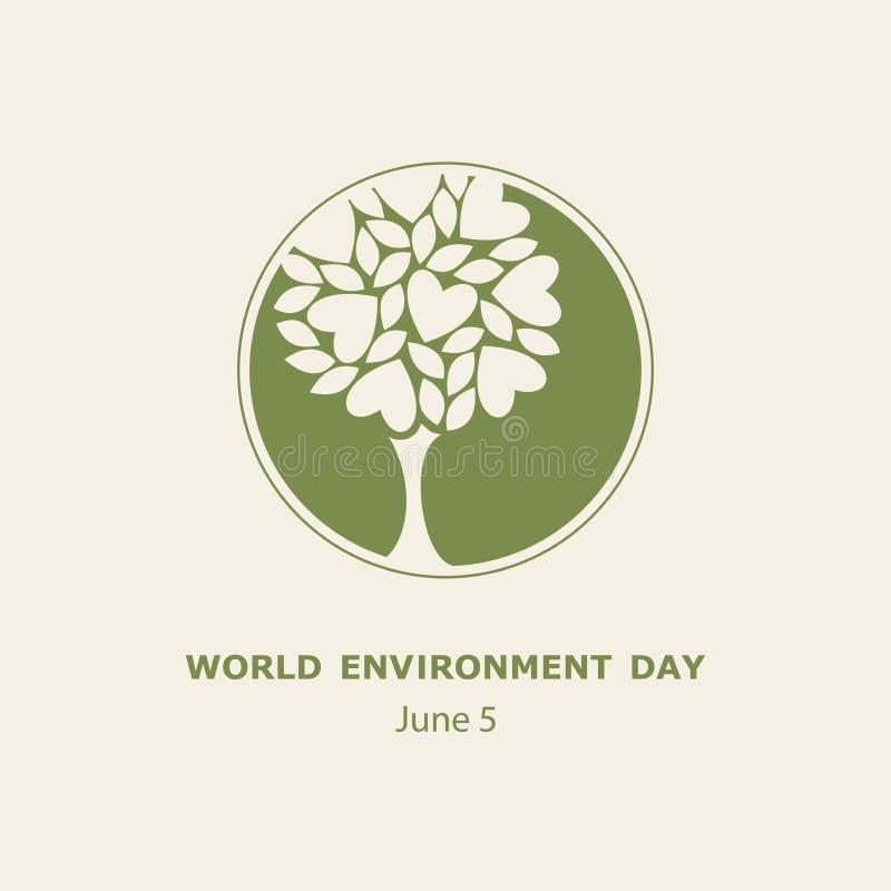 Begrepp för dag för världsmiljö Juni 5 logo affisch arkivbild