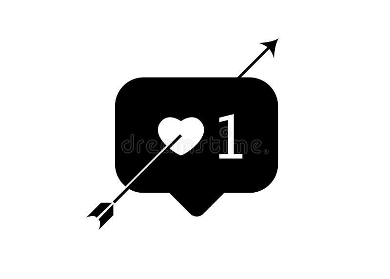 Begrepp för dag för valentin` s, som, förälskelse, en, instagram, knapp och röd hjärta med pilen, isolerad vektorillustration stock illustrationer