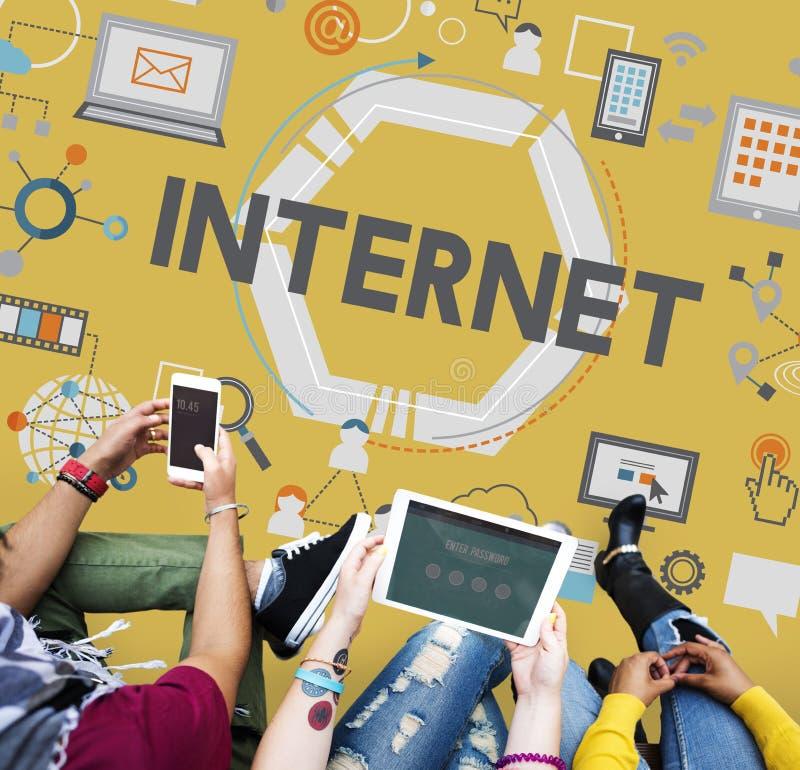 Begrepp för data för anslutning för global kommunikation för internet arkivfoto