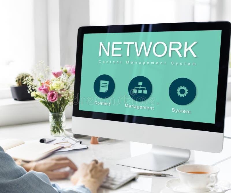 Begrepp för data för nätverksWebsiteutveckling royaltyfri bild
