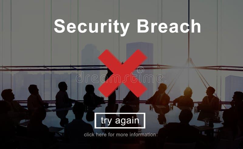 Begrepp för dataintrång för säkerhetsöverträdelserisk farligt arkivfoto