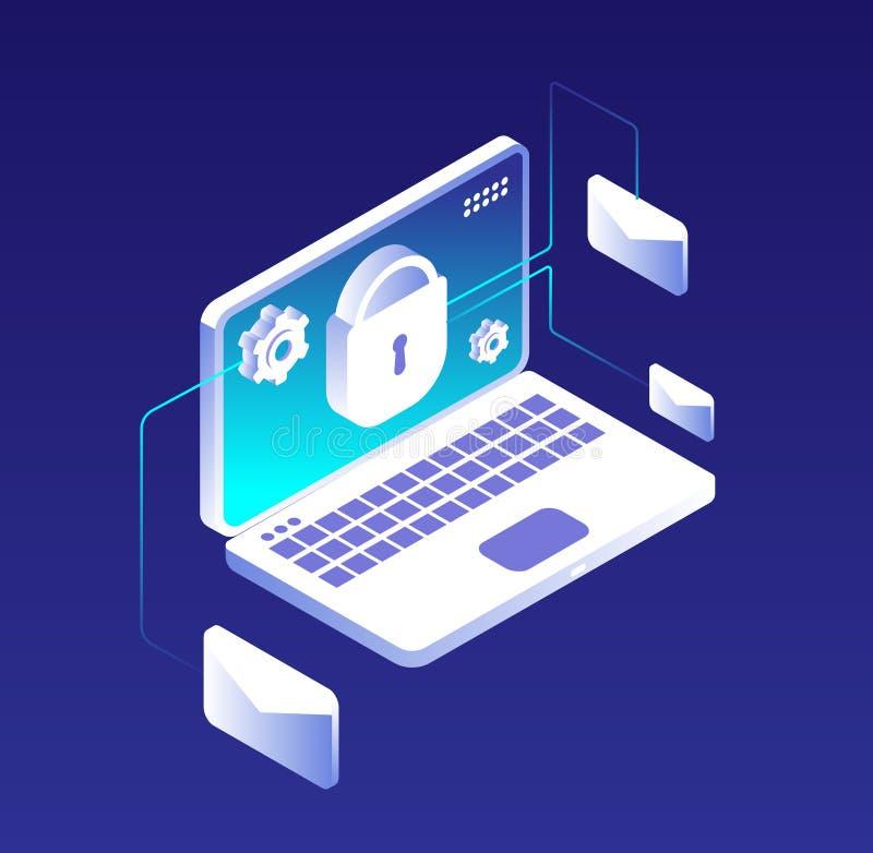 Begrepp för dataskydd Email databaskryptering-, dator-, informations- och lagringssäkerhet Antivirus- och vpnvektor royaltyfri illustrationer