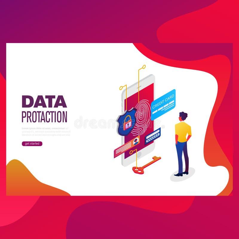 Begrepp för dataskydd Kreditkortkontrollen och programvara tar fram data som förtroliga kan använda för rengöringsdukbaner vektor illustrationer