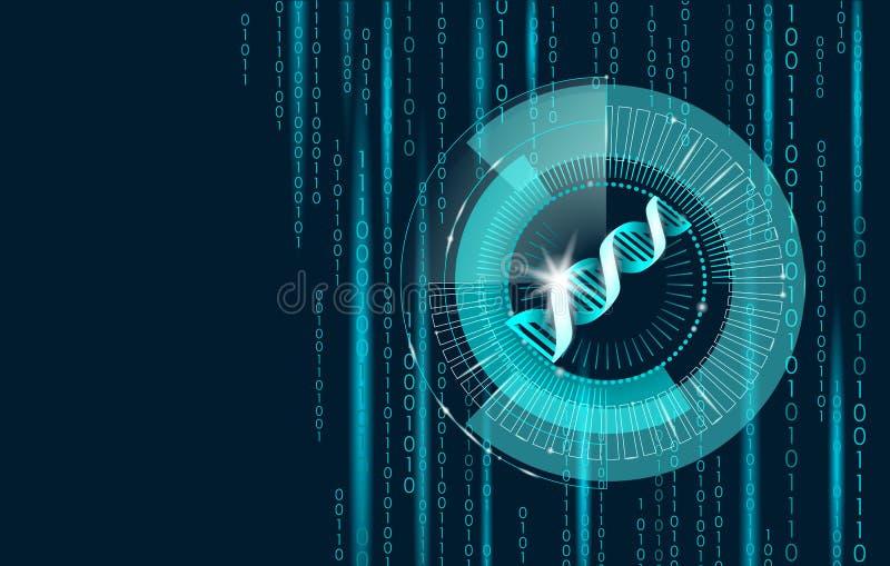 Begrepp för datateknik för binär kod för DNA framtida Genomvetenskapsstrukturen ändrade GMO som iscensätter molekylärt symbol royaltyfri illustrationer