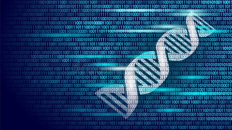 Begrepp för datateknik för binär kod för DNA framtida Genomvetenskapsstrukturen ändrade GMO som iscensätter molekylärt symbol stock illustrationer