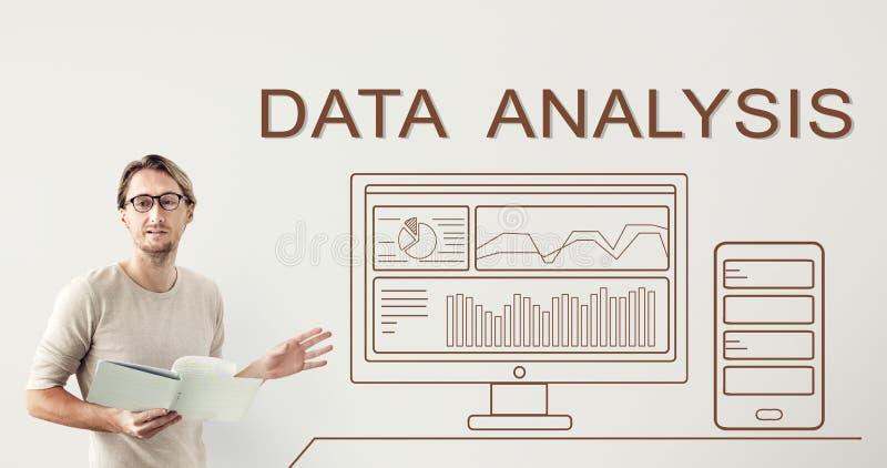 Begrepp för dator för dataAnalyticsframsteg summariskt arkivbilder