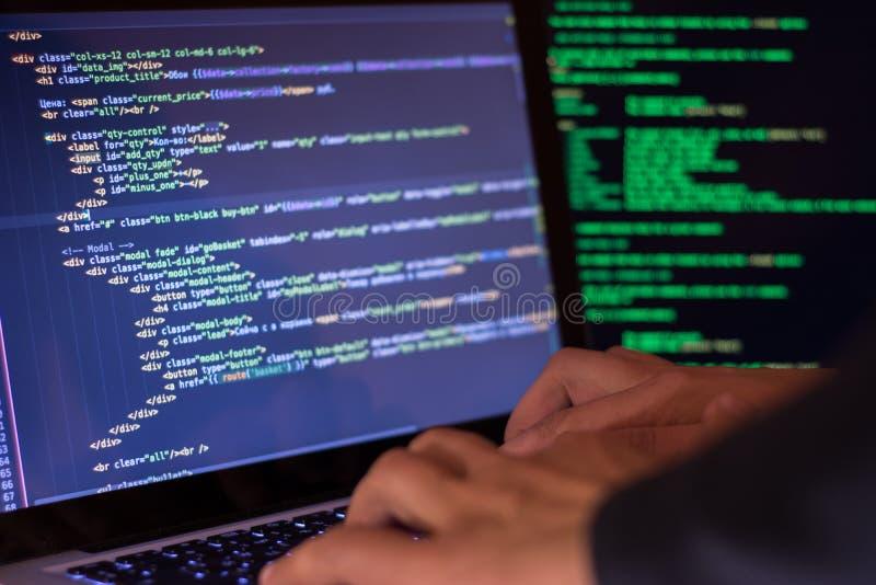 Begrepp för datorbrott, en hackerbrytningplats arkivbild