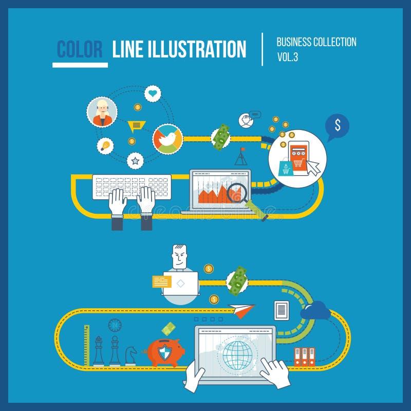 Begrepp för den mobila marknadsföringen, online-shopping Affärsskydd stock illustrationer
