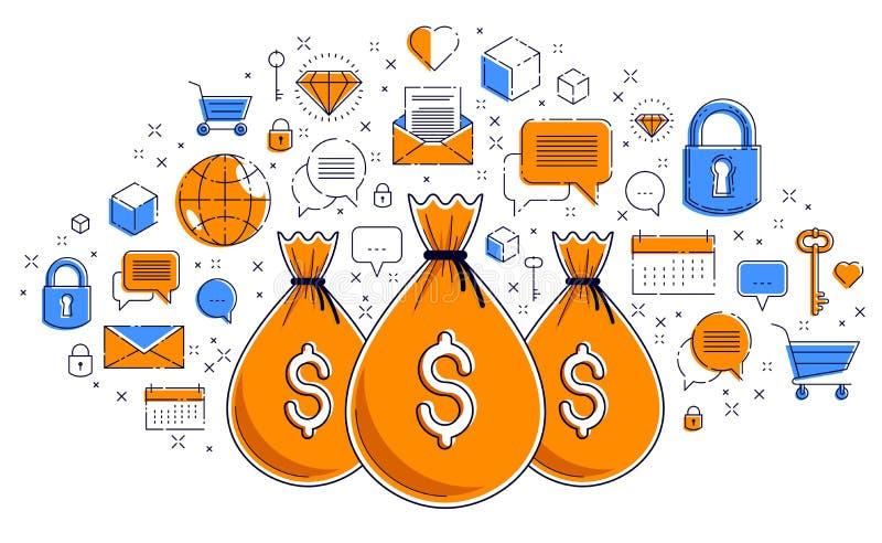 Begrepp för design, för besparingar eller för investeringar för vektor för för pengarpåse och symbol fastställt, online-betalning vektor illustrationer