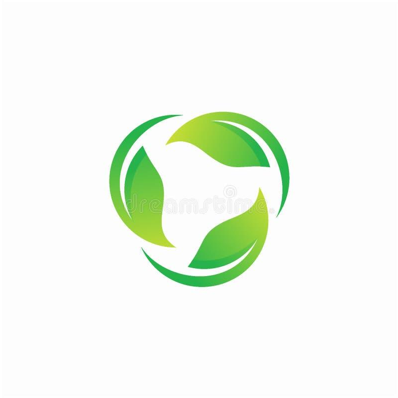 Begrepp för design för bladrotationslogo, bladvirvel Naturlogomall royaltyfri illustrationer