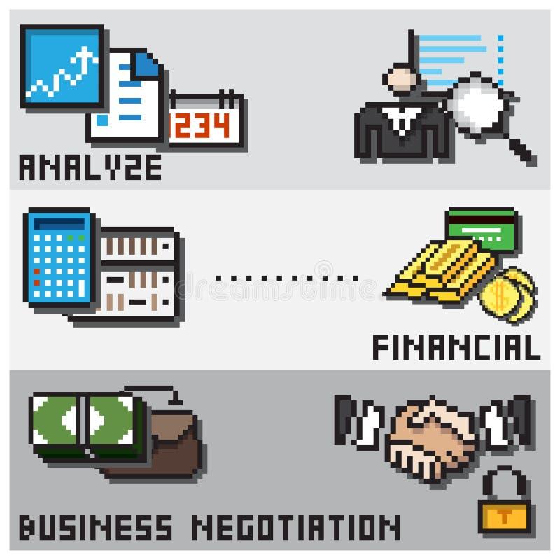 Begrepp för design för Digital PIXEL finansiellt stock illustrationer