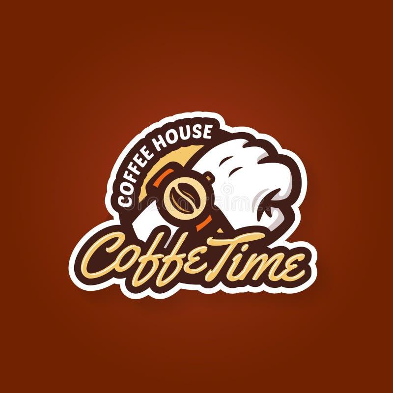 Begrepp för design för etikett för kaffetidemblem royaltyfri illustrationer