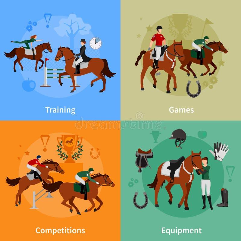 Begrepp för design för hästresningsport 2x2 royaltyfri illustrationer