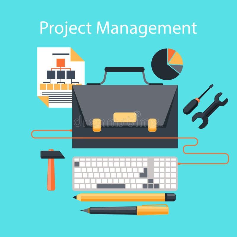 Begrepp för design för lägenhet för projektledning stock illustrationer