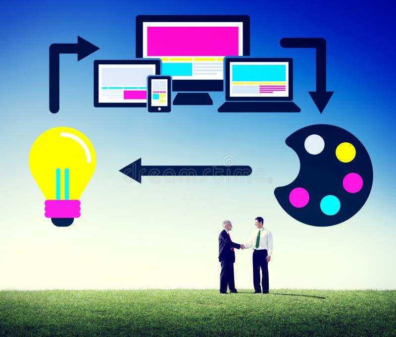Begrepp för design för orientering för teknologi för rengöringsdukdesign online- royaltyfri foto