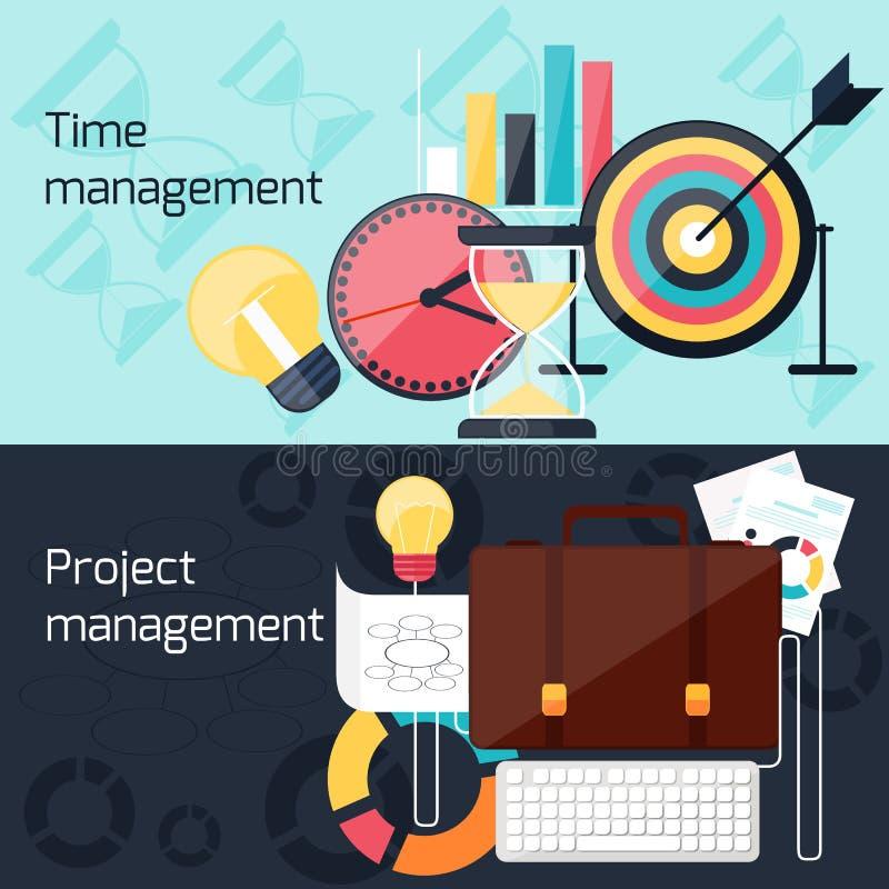 Begrepp för design för projekt- och tidledninglägenhet stock illustrationer
