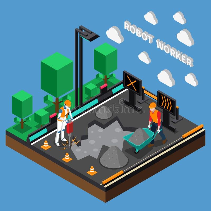 Begrepp för design för robotarbetaryrken 3d stock illustrationer