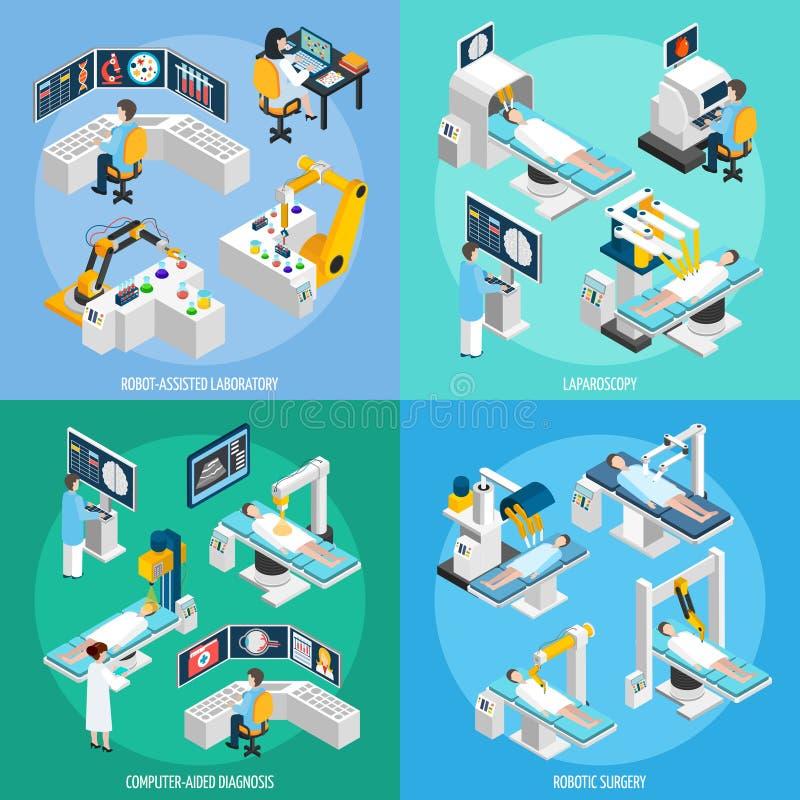 Begrepp för design 2x2 för Robotic kirurgi isometriskt vektor illustrationer