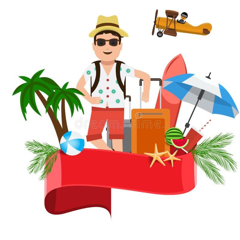 Begrepp för design för sommarvektorbaner med ett turist- mananseende med loppbeståndsdelbakgrund och det röda tomma bandet för stock illustrationer