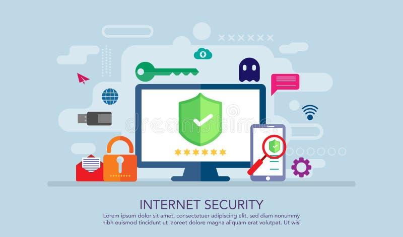 Begrepp för design för internetsäkerhetslägenhet, säkert arbetsbegrepp som är passande för banret, bakgrund, bokillustration Pres vektor illustrationer