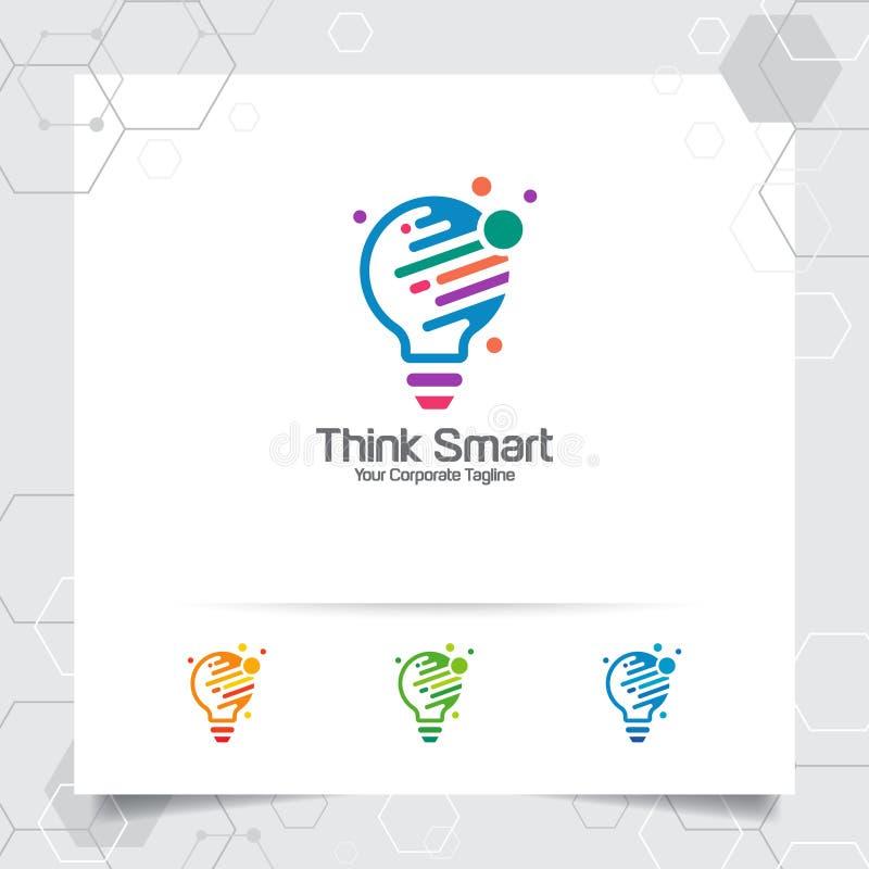 Begrepp för design för kulalogoidé av den digitala färgrika symbol- och symbolslampvektorn Smart idélogo som används för studion, vektor illustrationer