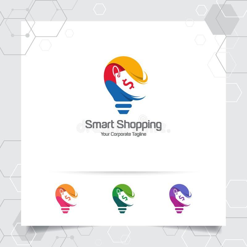 Begrepp för design för kulalogoidé av prislappsymbolet och symbolslampvektorn Smart id?logo som anv?nds f?r studio, professionell vektor illustrationer