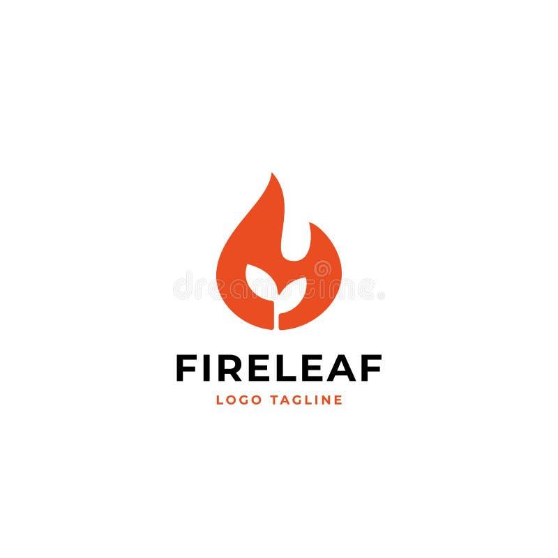 Begrepp för design för logo för brandblad enkelt bränd mycket liten växt med symbolen för flammavektorillustration stock illustrationer