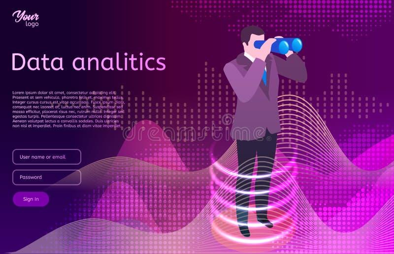 Begrepp för design för stor dataanalitics isometriskt Man i binokulära kikare för dräktbruk vektor illustrationer