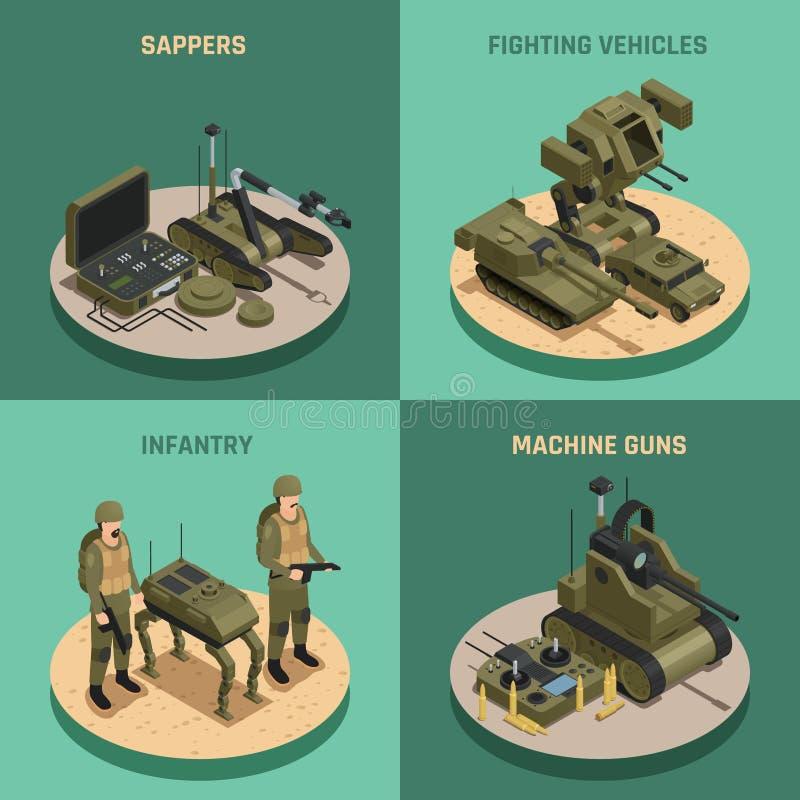 Begrepp för design för stridighetrobotar 2x2 royaltyfri illustrationer