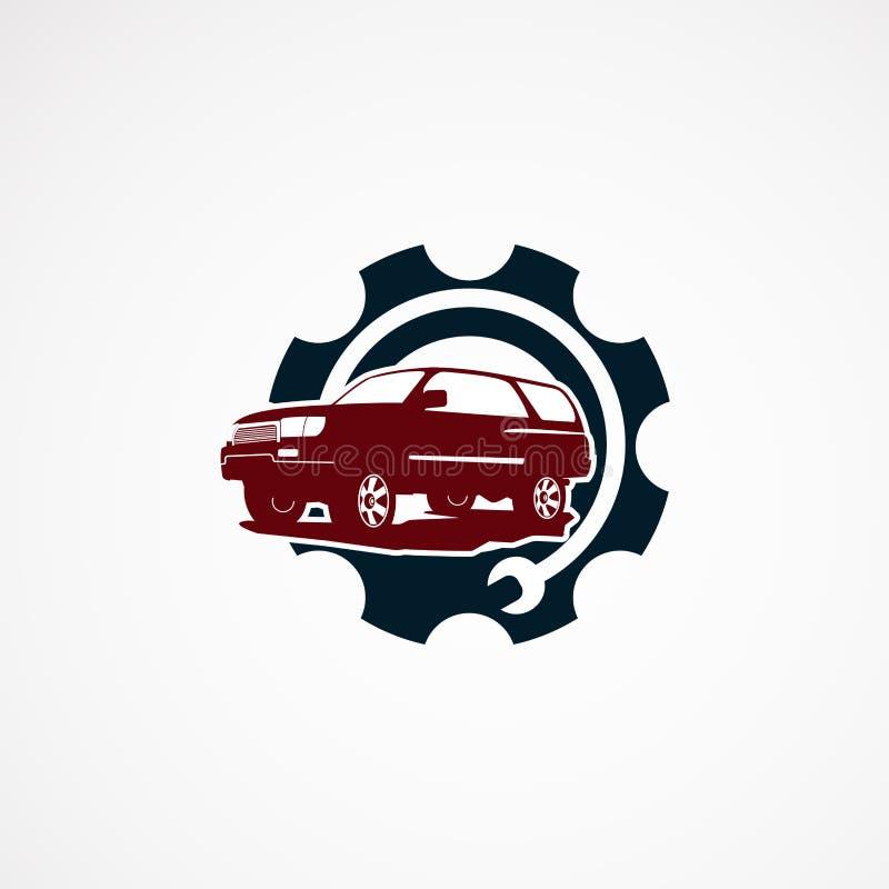 Begrepp för designer för logo för service för Suv bilreparation, symbol, beståndsdel och mall för företag royaltyfri illustrationer