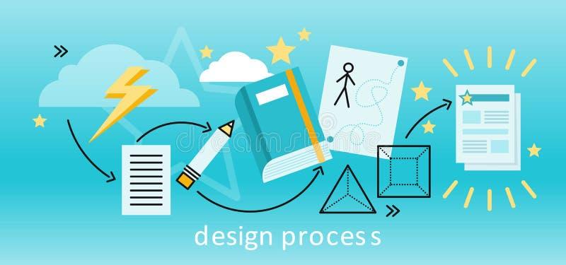 Begrepp för designprocess stock illustrationer