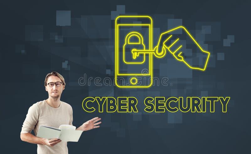 Begrepp för diagram för Cybersäkerhetsonline-säkerhet arkivbilder