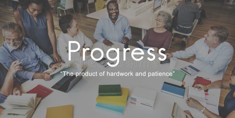 Begrepp för diagram för framstegproduktHardwork patiens royaltyfri fotografi