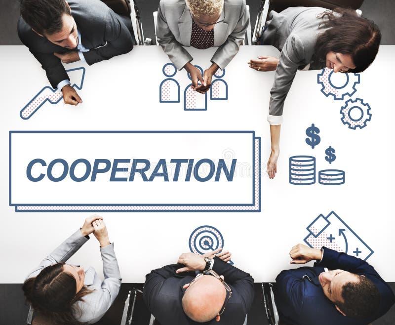 Begrepp för diagram för samarbete för samarbetsaffärsöverenskommelse royaltyfria foton