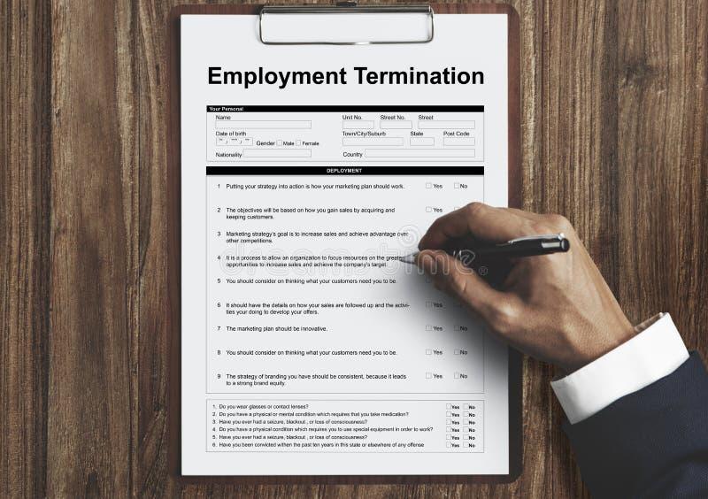 Begrepp för diagram för sida för anställningavslutningsform royaltyfri bild