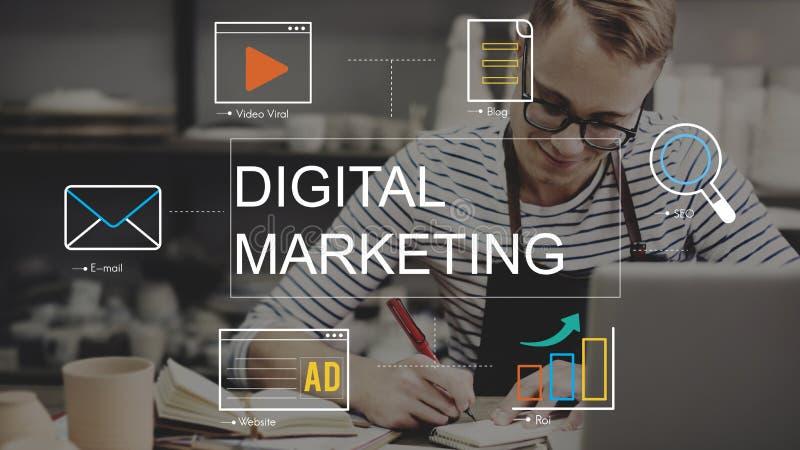 Begrepp för diagram för teknologi för Digital marknadsföringsmassmedia royaltyfri fotografi