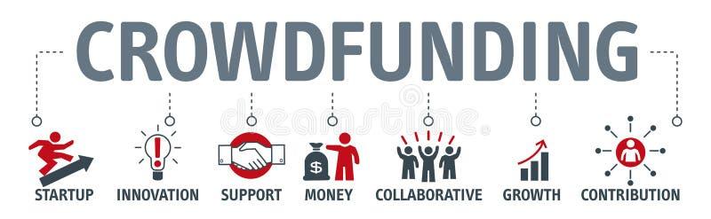 Begrepp för diagram för symbol för affär för banerCrowdfunding pengar vektor illustrationer